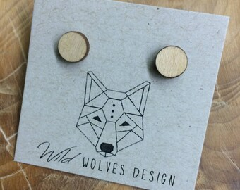 Wood Circle Stud Earrings