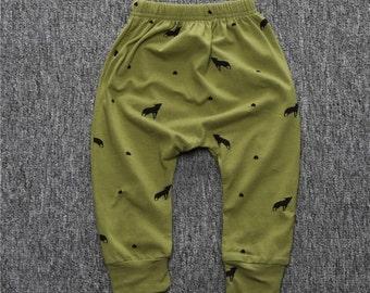 Baby Khaki Green wolf motif pants