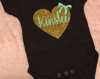 Little girl's heart and name black onesie//t-shirt//choose your text color