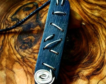 Bog Oak necklace, pendant necklace, wooden pendant,  boho style, holistic, lucky charm (SSW)