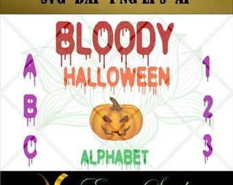 Bloody Halloween Alphabet svg, Studio font,Letter svg, Numbers svg, files for cricut,svg files,Cricut Downloads, Digital Download.