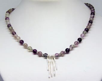 Necklace fluorite with awesome sterling silver pendant