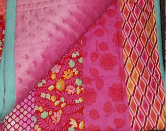 Modern baby/toddler quilt, baby shower gift animal tiger elephant girly