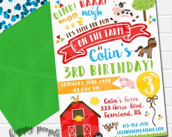 Farm Invitation Farm Birthday Invitation Farm Party Barnyard Bash Printable Invitation Farm Theme Barn Animal Invitation Farm Animal Invite