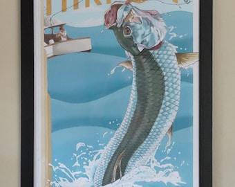 Art Deco Style Tarpon Fish Poster Sport Fishing Print