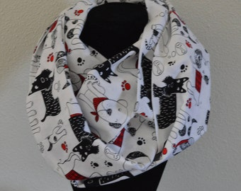 Dogs Infinity Scarf womens ladies Handmade | cotton scarf | scottie dog scarf | loop scarf | gift for her | animal scarf