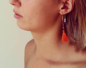 earrings with stones and tassels