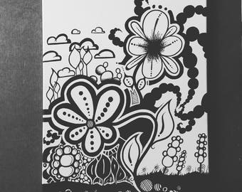 black and white hand painted flowers