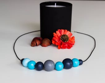Bright blue wooden beads necklace