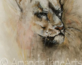 Lion, painting, picture, print, art, watercolour, gift