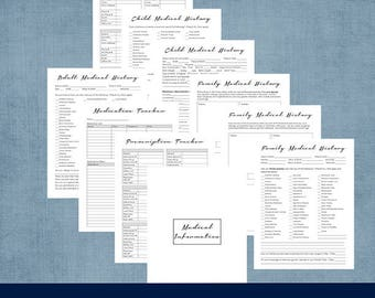 Family Medical History and Medical Information - Doctor List, Prescription and Medication Tracker PDF Printable