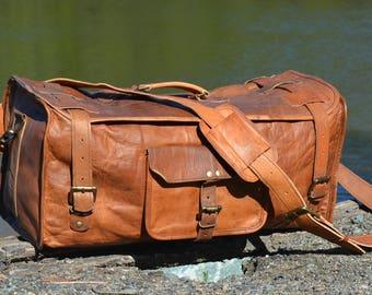 Leather Duffel Bag, Travel Bag, Leather bag