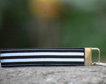 Black and White Stripe Wristlet Key Fob
