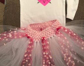 Love Arrow Heart Tee/Bodysuit and pink and white tutu