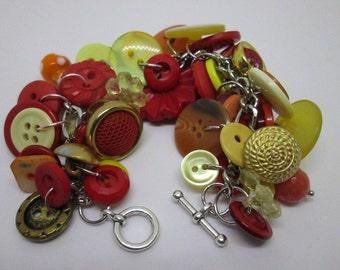 Vintage red,orange, & gold button bracelet