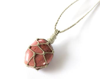Pink Petrified Wood Hemp-Wrapped Adjustable Necklace