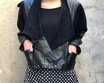 Jacket woman, bat, black leather, 80s