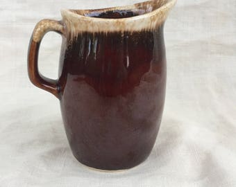 Mid Century Hull Pottery Brown Drip Syrup Pitcher Made in the USA,Creamer,Old World Look,Pencil Holder,Collector Item
