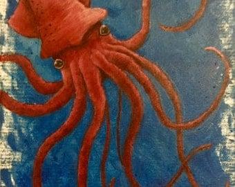 """Acrylic Painting """"Red Squid"""" (Original)"""