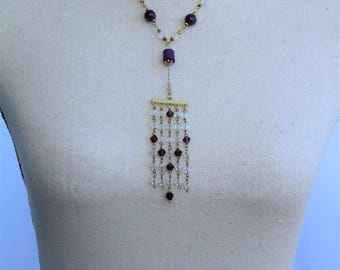 Gold Fashion Necklace & Dark Violet Beads