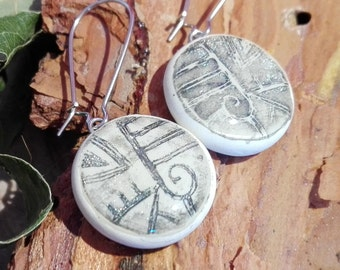 ORIGINAL Dangle Earrings - Ancient Silver Hieroglyphs // Modern Hand Painted Ceramic Drop Earrings, Minimalism Personalized Gift, Earth Art