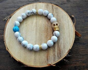 7 Deadly Sins Aqua Blue Golden Skull Marble Bracelet