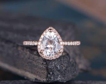 Pear Shaped Engagement ring White Topaz Rose Gold Halo Diamond Ring Bridal Promise Half Eternity Dainty Anniversary Gift For Her Women