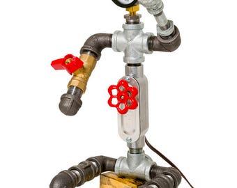 Lamp, Plumbers pipe, Industrial lamp, Industrial, Robot lamp, Robot, Gauge, Edison Bulb