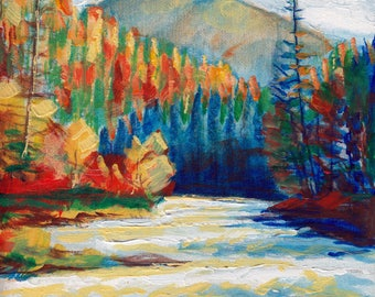 Toby Creek BC by Dennis Weber of ShreddyStudio / 8x10 painting of river rapids in Rocky Mountains in British Columbia at Toby Creek