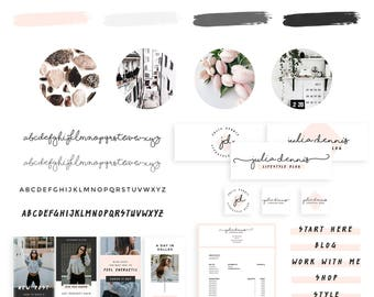 Branding Kit, Premade Logo Design, Instagram Template, Social Media Kit, Editable Pinterest Template, Business Cards, Instagram Post
