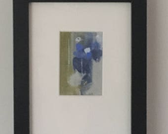 Blue and Green Abstract original artwork, framed and matted