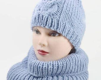 Knitting hat Loom knit hats Blue knit hats Wool knit hat Blue hats Knit beanie Knitted skull cap Cable knit hat Blue under Winter knit hats