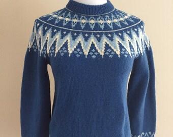 1960's-1970s Vintage Cornflower Blue Wool Pullover Sweater Handknitted in Denmark