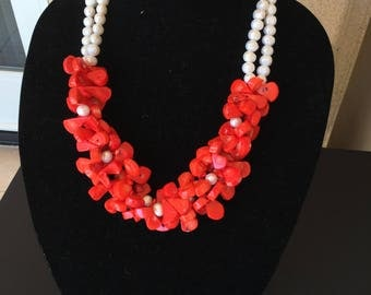 Natural Coral and Pearl Necklace by Dobka