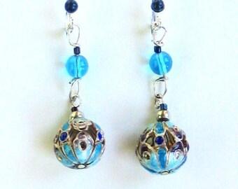 Lapis and Cutwork Enamel Bead Earrings
