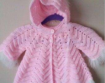 Handmade crochet angel cardigan & bonet for baby girl