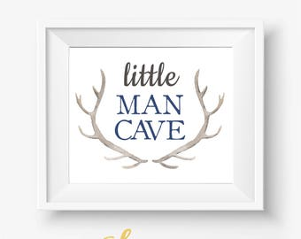Little Man Cave, Boy Nursery, Boy Nursery Decor, Baby Boy Nursery, Antlers Printable, Baby Boy Print, Baby Boy Antlers, Little Man Cave Art