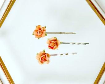 Orange Flower Hair Pin Set // Set of 3 Bobby Pins, Orange Hair Clips, Fall Wedding Hair Pins, Bridesmaid Gift, Gifts For Her, Christmas Gift