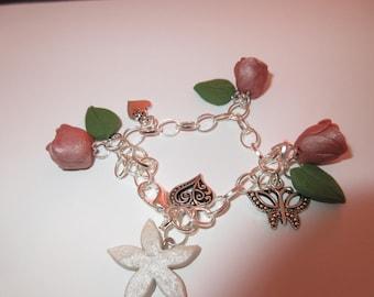 Polymer Clay Roses Charm Bracelet
