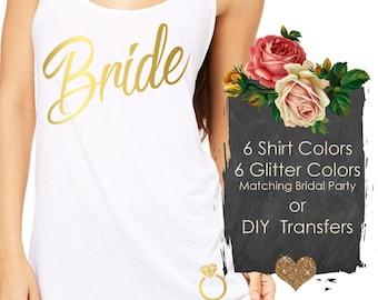 bridal party shirts,  bachelorette party (Bride Script #10) Bridesmaid Tank Tops, 6 tank colors, 6 glitter colors and 6 logos to choose from