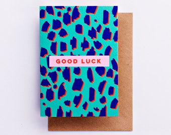 Good Luck Animal Print Card, Fashion Stationery, Fashion Card, Fashion Gift, Cool Card, Goodbye Card, Pink, Bye, Good Luck, Best Wishes