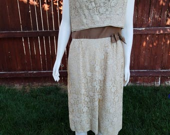 Vintage Beige and Brown Dress with Side Bow