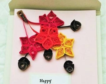 Set Of 4 Thanksgiving Quilled Card