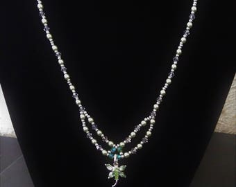 Lime green beads with butterfly pendant necklace