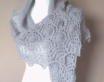 "Hand-knitted shawl - shawl knitted ""Grey Drops"""