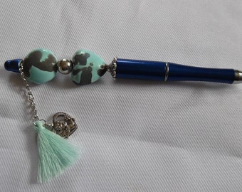 Pen customized heart ceramic light blue, Royal Blue.