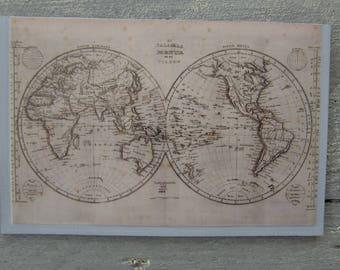 Framed vintage world map etsy magnetic frame vintage world map gumiabroncs Gallery