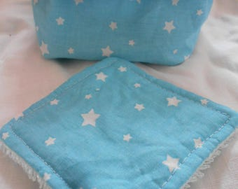 Set of 5 cotton wipes and its pattern basket star