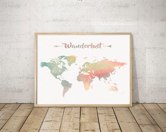 WANDERLUST MAP DOWNLOAD Watercolor Large World Color Map Printable Colorful