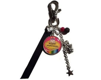 "Keyring - bag gift CENTERPIECE ""Super teacher"" charm/end of year gift"